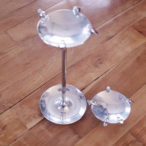 Bundle of 2 Silver Bird Bath Jewelry Holders